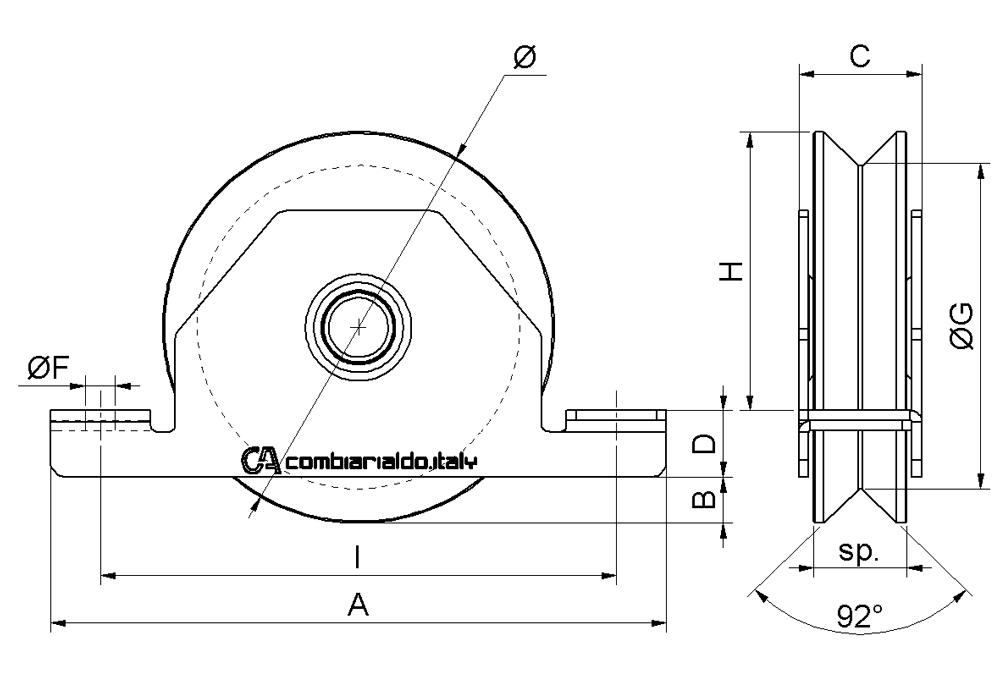 combiarialdo Rad Gate V-Nut interne Unterstützung