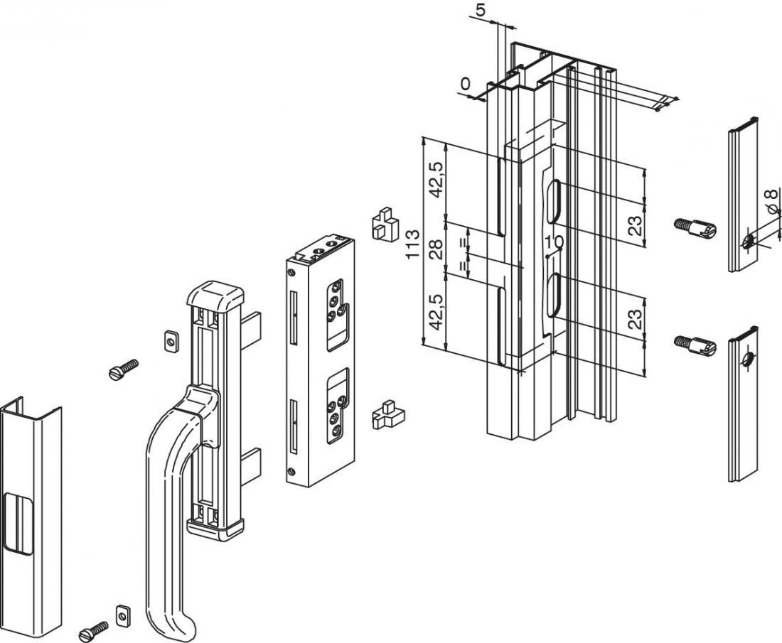 Kit collegamento nova giesse maniglie cremonesi windowo - Meccanismo cremonese finestra ...