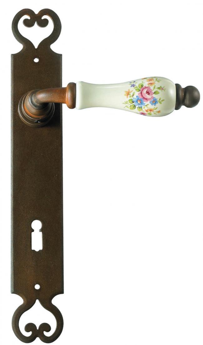 Maniglie su placca in ferro battuto e porcellana galbusera - Maniglia della porta ...