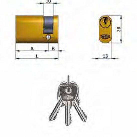 Mezzo Cilindro Omec Ottone Ovale 5 Perni L 43mm 3310