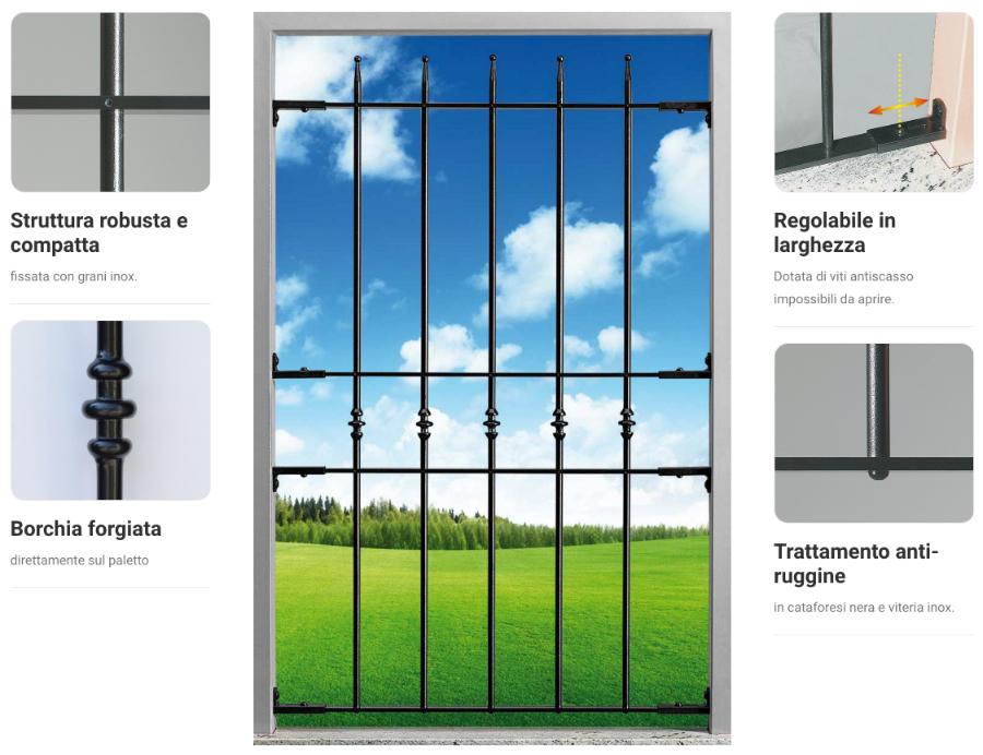 blindy inferriata struttura robusta e compatta borchia forgiata per finestra