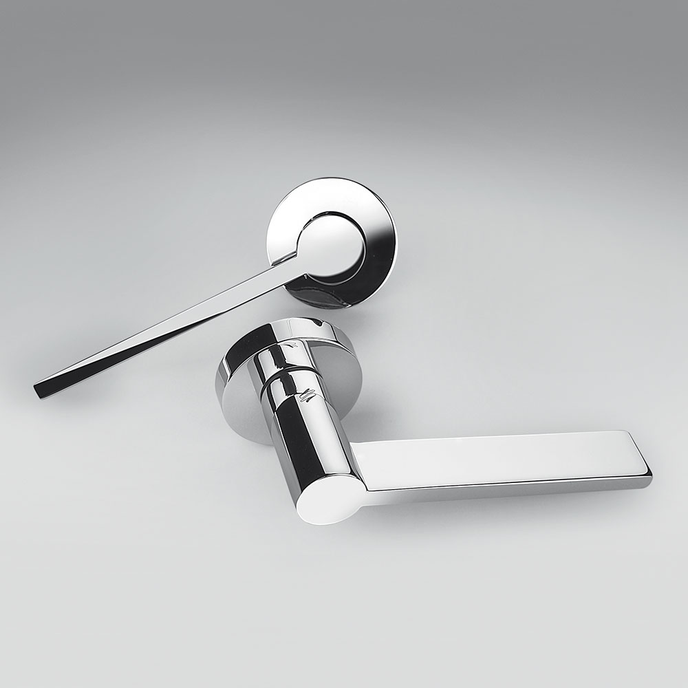 Tool Polished Chrome Door Handle on Rosette Architecture Michele De Lucchi for Colombo Design