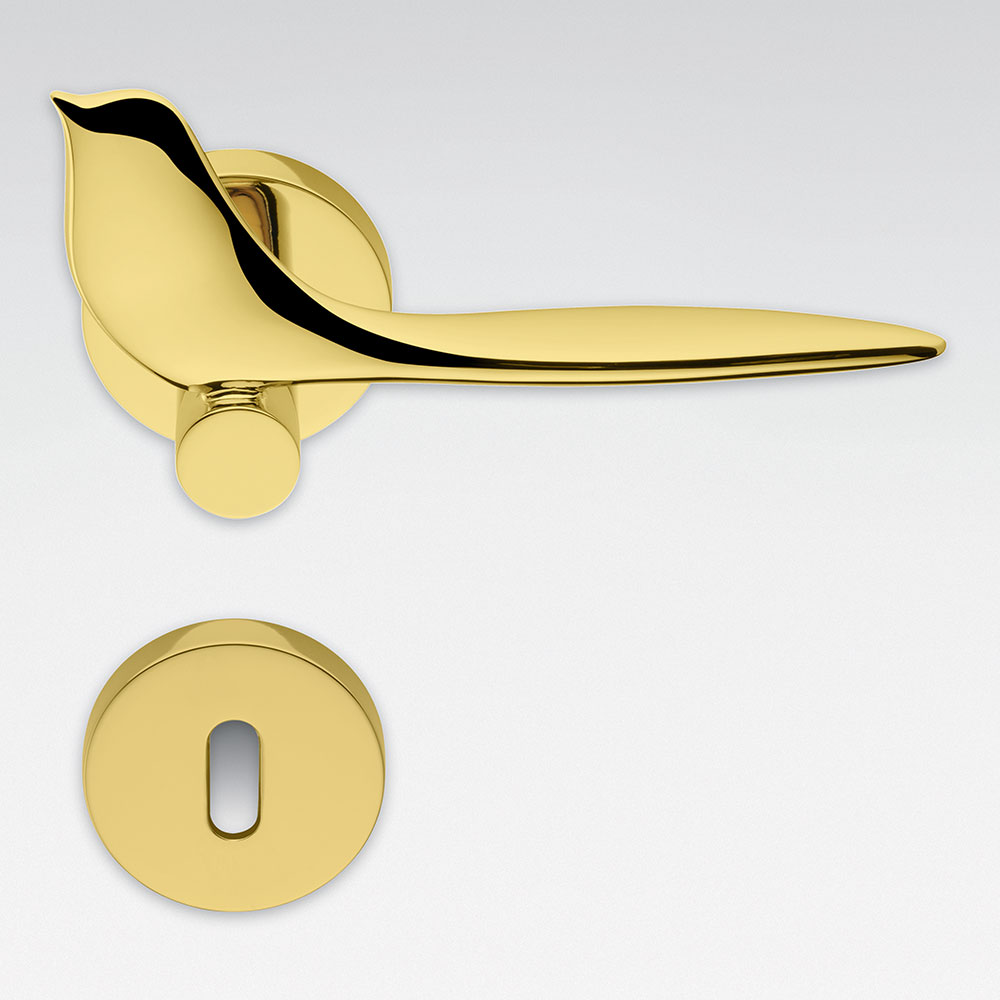 Twitty Oroplus Door Handle on Rosette with Animal Bird Shape by Colombo Design