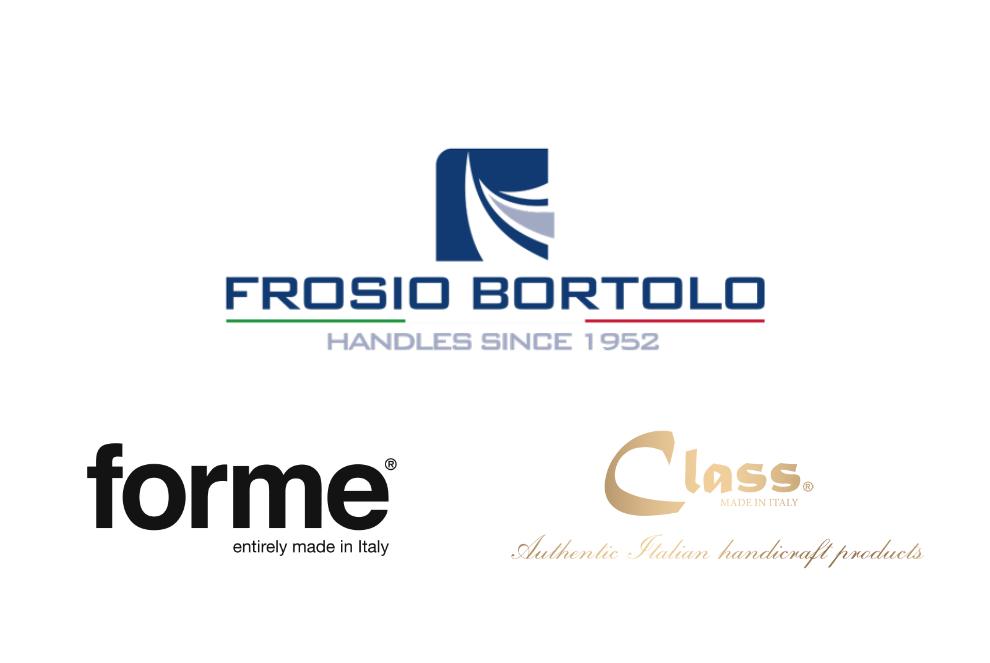 poignées Frosio formes de classe logos marques Bortolo marque