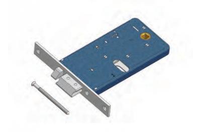 Scrocco con Mandata 377/F22 Omec Esclusione Mandata Serratura Elettrica a Fascia