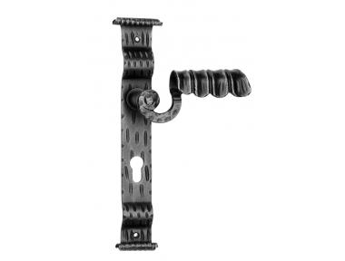 1072 Galbusera Maniglia per Porta su Placca in Ferro Battuto d'Arte
