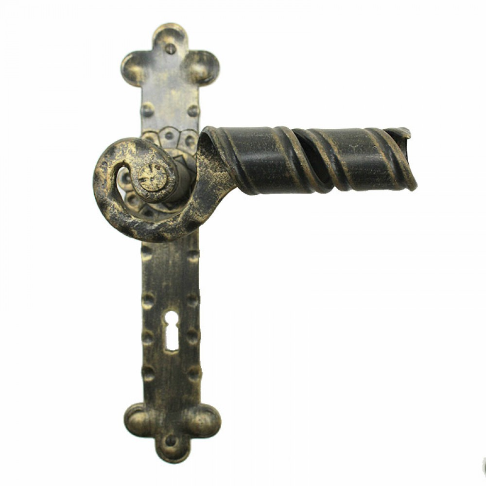 2041 Maniglia Signorile in Ferro Battuto per Porte su Placca Lorenz Ferart