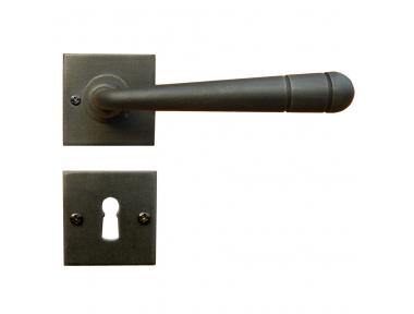 2110/SQA Linz Galbusera Maniglia per Porta con Rosetta e Bocchetta in Ferro Battuto d'Arte