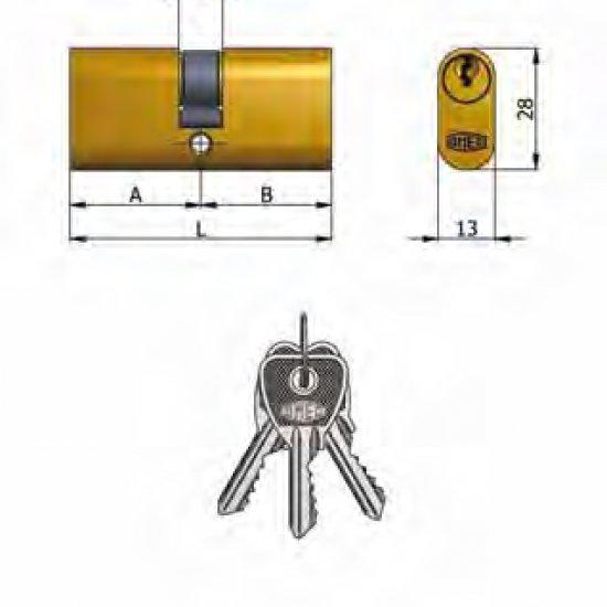 Doppio Cilindro Omec Ottone Ovale 5 Perni L 80mm 4040