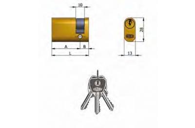 Mezzo Cilindro Omec Ottone Ovale 5 Perni L 37mm 27/10