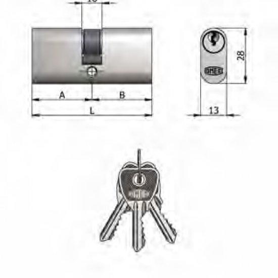 Doppio Cilindro Omec Ottone Nichelato Ovale 5 Perni L 106mm 5353