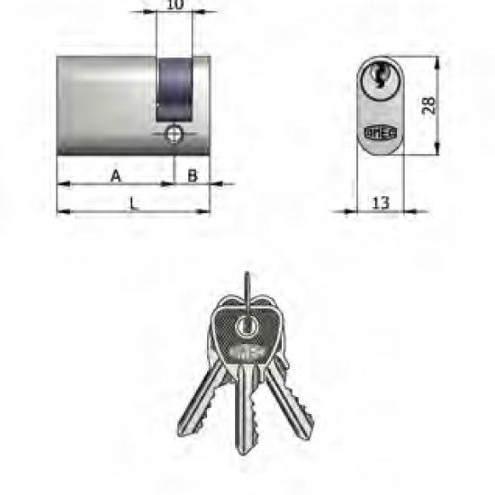 Mezzo Cilindro Omec Ottone Ovale Nichelato 5 Perni L 37mm 2710
