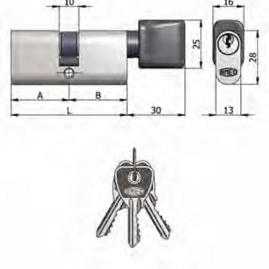 Doppio Cilindro Omec Con Pomolo Ottone Ovale Nichelato 5 Perni L 54mm