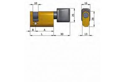 Mezzo Cilindro Omec con Pomolo Ottone Ovale L 40mm 30/10