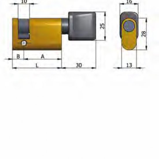 Mezzo Cilindro Omec Con Pomolo Ottone Ovale L 43mm 3310