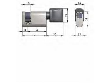 Mezzo Cilindro Omec con Pomolo Ottone Ovale Nichelato L 40mm 30/10