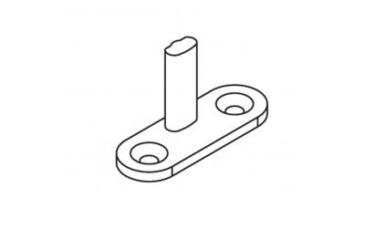 Piastra Chiusura G-U 40x14 Perno H=20mm Nero Opaco