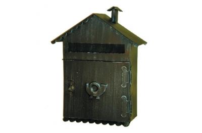 6014 Porta Lettere con Tetto a Falde in Ferro Battuto Artigianale Lorenz Ferart