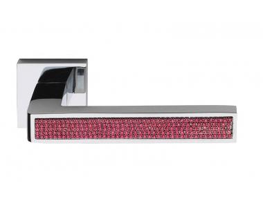 Barletta Crystal Pink Maniglia per Porta su Rosetta Quadrata Fashion PFS Pasini