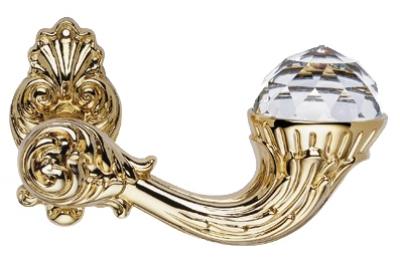 Brillant Crystal Oro Zecchino Maniglia per Porta su Rosetta Linea Calì Vintage