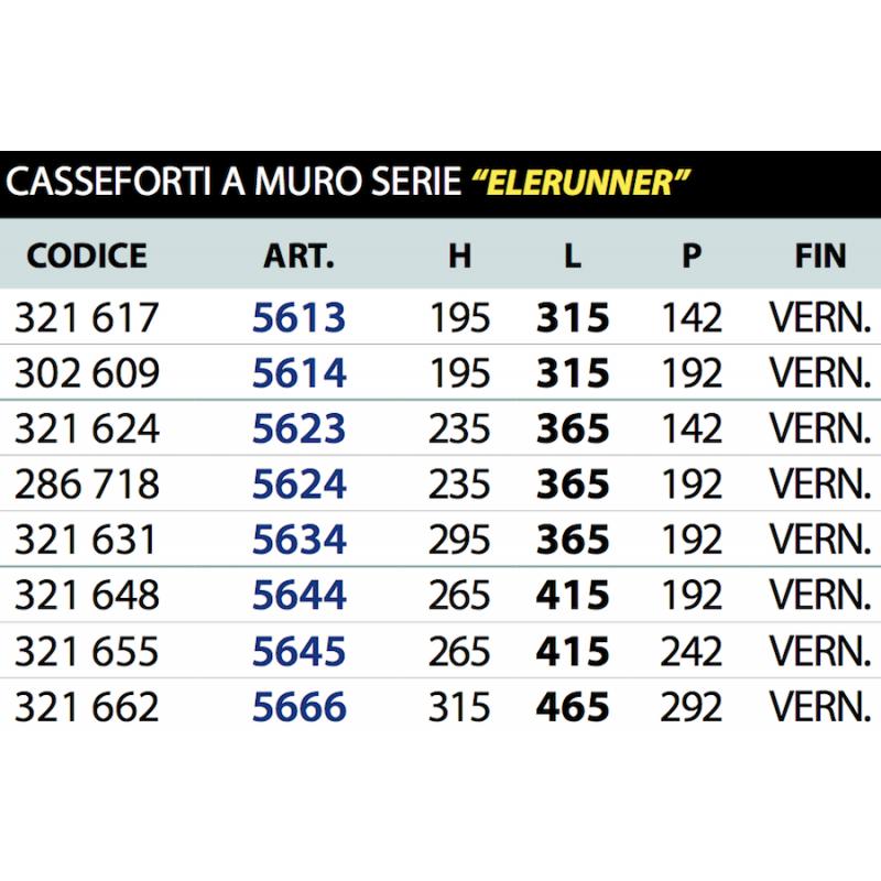 Cassaforte Elerunner Serie 56 Juwel da Murare di Varie Dimensioni