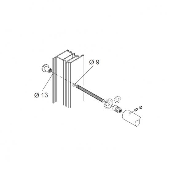 Kit Fissaggio Pba 01 Maniglione Singolo Passante Porte Alluminio Ferro