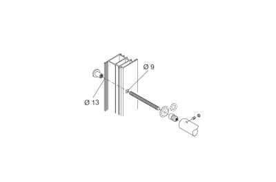 Kit Fissaggio pba 01 Maniglione Singolo Passante Porte Alluminio Ferro Legno