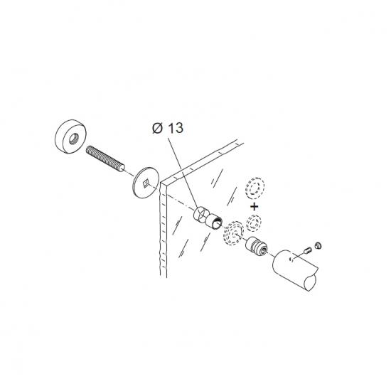Kit Fissaggio Pba 02 Per Maniglione Singolo Passante Per Porte In Vetr