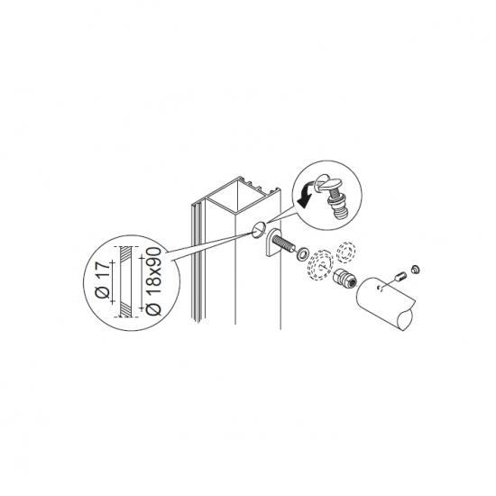 Kit Fissaggio Pba 03 Maniglione Singolo Non Passante Porte Ogni Materi