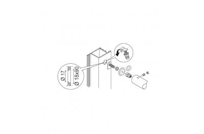 Kit Fissaggio pba 03 Maniglione Singolo Non Passante Porte ogni Materiale
