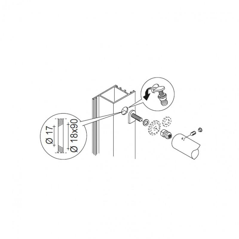 Kit Fissaggio pba 03 Maniglioni Singoli Non Passanti Porte ogni Materiale