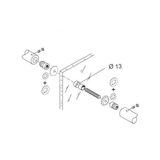 Kit Fissaggio Pba 04 Per Maniglione Singolo Contrapposto Per Porte In