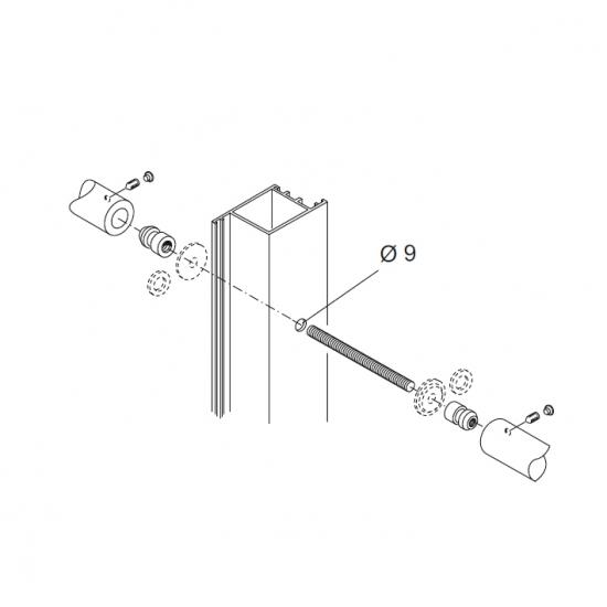 Kit Fissaggio Pba 710 Coppia Di Maniglioni Per Porte In Alluminio Ferr