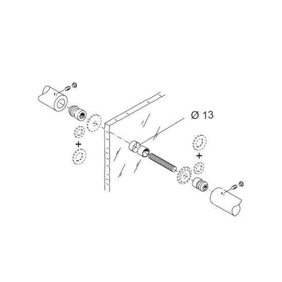 Kit Fissaggio Pba 810 Coppia Di Maniglioni Per Porte In Vetro