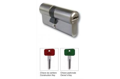 Mezzo Cilindro 40mm con Chiave Cantiere e Padronale Ottone Cromo-Satinato IBFM