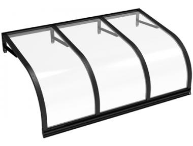 Pensilina Cassiopea Nero Trasparente in Alluminio AMA Protezioni Solari