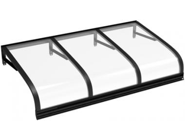 Pensilina Euriga Nero Trasparente in Alluminio AMA Protezioni Solari