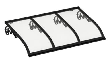Pensilina Vela Old Nero Trasparente in Alluminio AMA Protezioni Solari