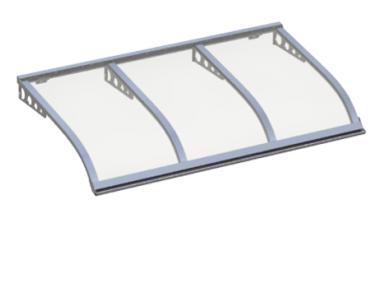 Pensilina Vela Style Attacco a Parete Alluminio Trasparente in Alluminio AMA