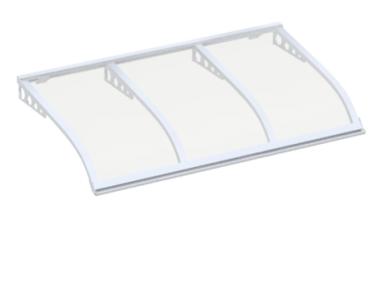 Pensilina Vela Style Attacco a Parete Bianco Trasparente in Alluminio AMA