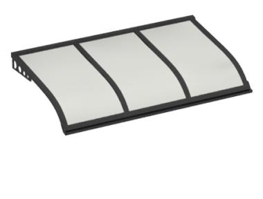 Pensilina Vela Style Attacco a Parete Grigio Opalino in Alluminio AMA