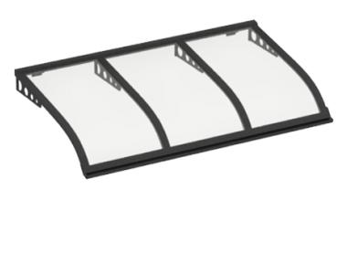Pensilina Vela Style Attacco a Parete Grigio Trasparente in Alluminio AMA