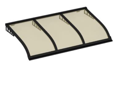 Pensilina Vela Style Attacco a Parete Nero Bronzo in Alluminio AMA