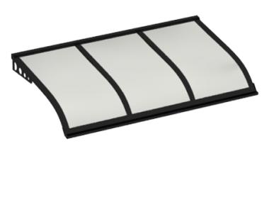 Pensilina Vela Style Attacco a Parete Nero Opalino in Alluminio AMA