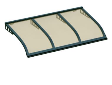 Pensilina Vela Style Attacco a Parete Verde Bronzo in Alluminio AMA