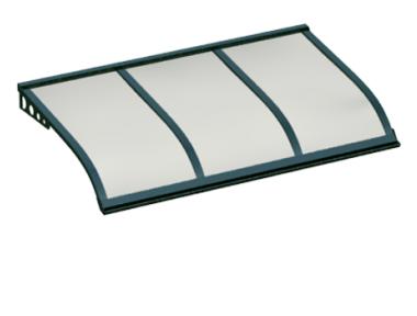 Pensilina Vela Style Attacco a Parete Verde Opalino in Alluminio AMA