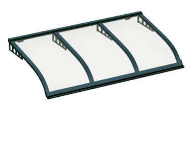 Pensilina Vela Style Attacco a Parete Verde Trasparente in Alluminio AMA