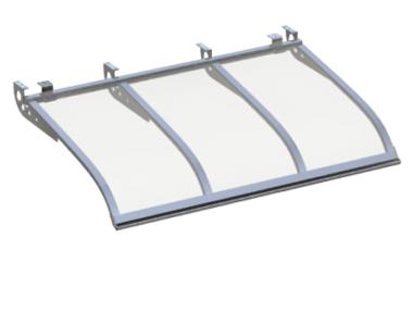 Pensilina Vela Style Attacco a Soffitto Alluminio Trasparente in Alluminio AMA