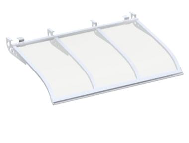 Pensilina Vela Style Attacco a Soffitto Bianco Trasparente in Alluminio AMA