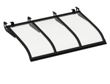 Pensilina Vela Style Attacco a Soffitto Nero Trasparente in Alluminio AMA